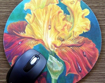 Iris Mousepad Gold and Orange Flower-Solar Fire