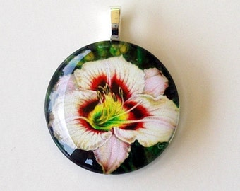 Cream Pink Daylily with Maroon Eyes Round Art Glass Pendant