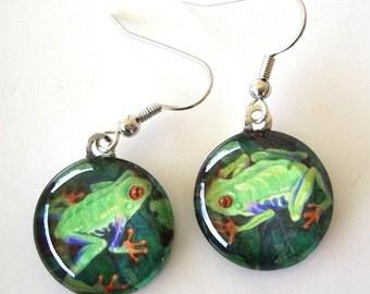 Frog Jewelry Earrings Red Eye Tree Frogs Art Glass