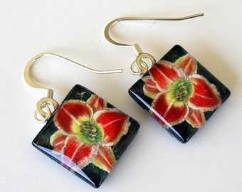 Daylily Earrings Red Cream Dangle Square Earrings
