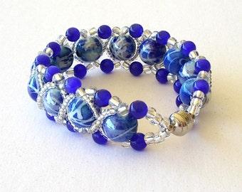 Beaded Bracelet Jewelry Blue Swirl Royal Blue Crystal