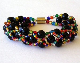 Beaded Bracelet Jewelry: Black 6mm with Rainbow Seed Beads