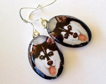 Dog Earrings Husky Dog School Team Mascot Art Glass Jewelry