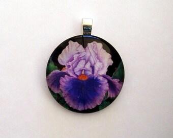 Iris Jewelry Pendant Lavender and Purple Art Glass Pendant