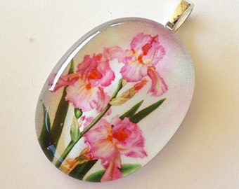 Pink Iris Jewelry Oval Glass Art Pendant Three Flowers Watercolor Art by AllKindsofArt