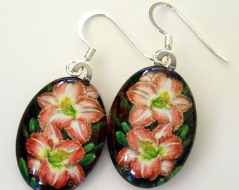 Daylily Earrings Rose Pink Cream Oval Art Glass