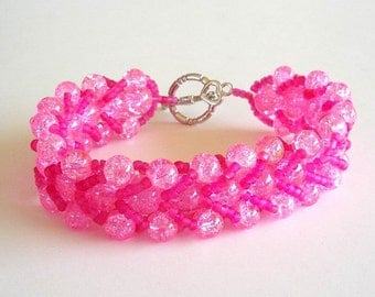 Beaded Bracelet  Pink Glass Crackle Hot Pink Seed Beads Flat Spiral Stitch Jewelry
