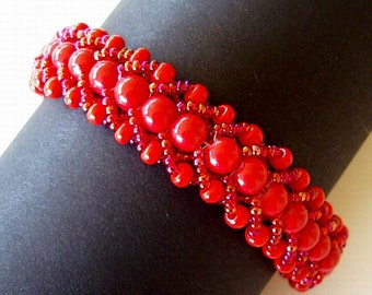 Beaded Bracelet Cardinal Red Scarlet Crimson Glass Beads Flat Spiral Stitch