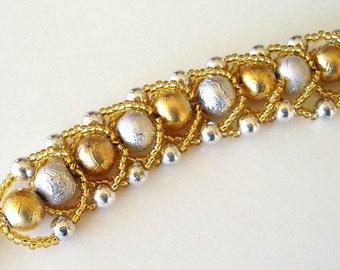 Beaded Bracelet Jewelry Gold Silver Textured Glass Seed Beads Flat Spiral Stitch