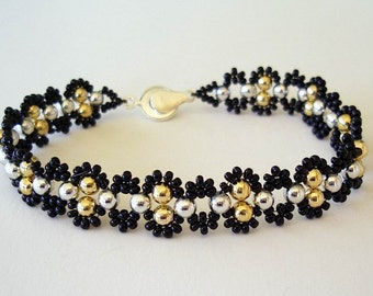 Beaded Bracelet Jewelry Gold and Silver Textured Glass and Seed Beads Plus Size Bracelet