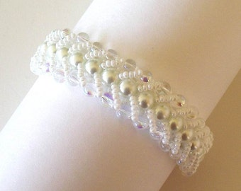 Beaded Bridal Bracelet Jewelry White Glass Pearls Clear Crystals Flat Spiral Stitch