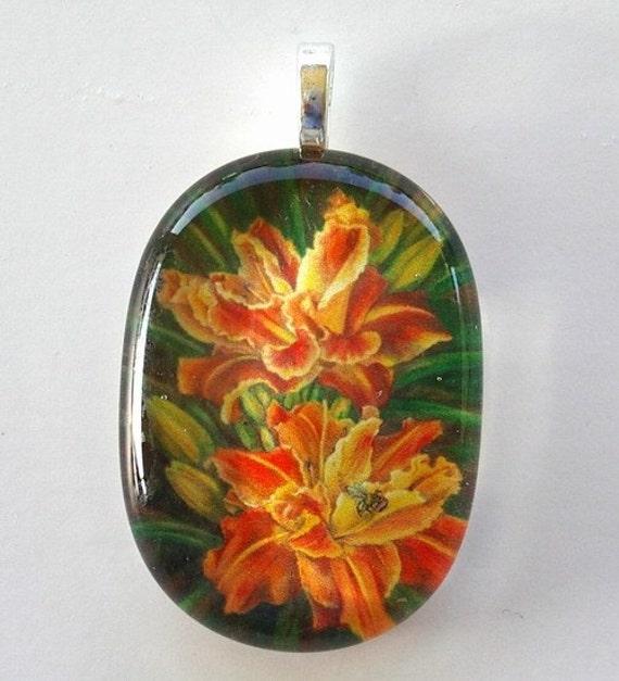 Daylily Jewelry Pendant Orange and Yellow Daylilies Oval Art Glass