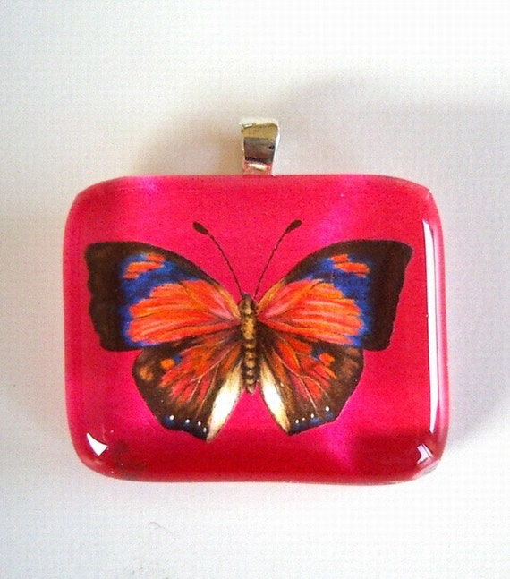 Butterfly art pendant jewelry brown and blue butterfly on hot - Brown butterfly meaning money ...