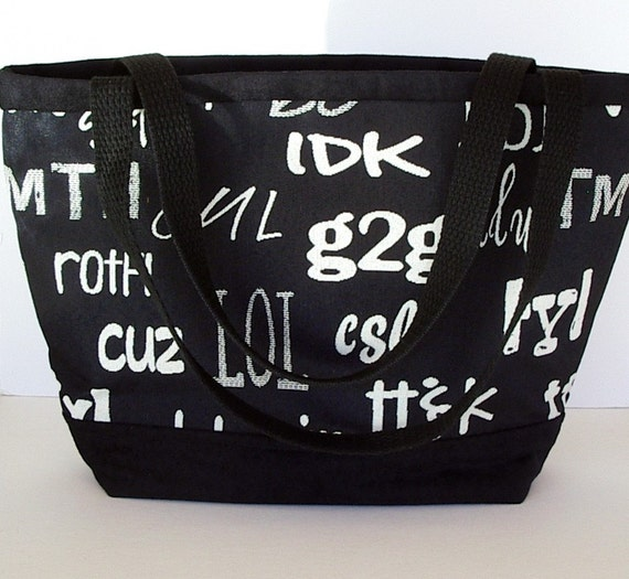 Fabric Purse Tote Black and White Text Messages Tapestry ON SALE