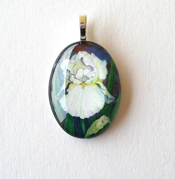 White Iris Flower Art Glass Oval Pendant/ Bridal Icing