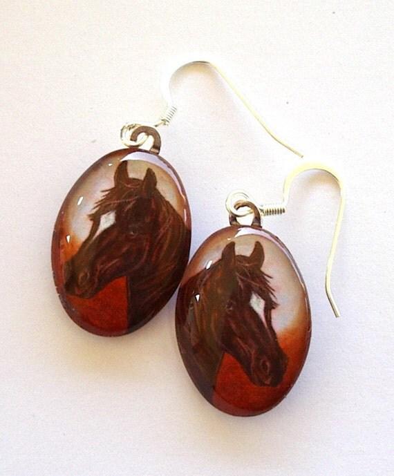 Horse Jewelry Earrings Oval Glass Brown Horse Orange Sunset Art