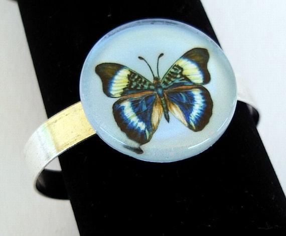 Blue Butterfly Art Bracelet Jewelry Round Glass Silver Plated Cuff by AllKindsofArt