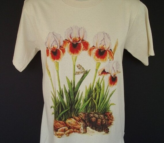 Unisex Flower T shirt with Arilbred Iris and Desert Tortoise Small size
