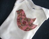 LONG sleeve Baby Onesie with pink floral Bird  applique- YOU PICK SIZE- unique gift idea