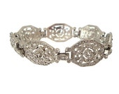 Reserved Art Deco Bracelet Crown Trifari Designer Alfred Philippe Vintage 1930s Wedding Jewelry