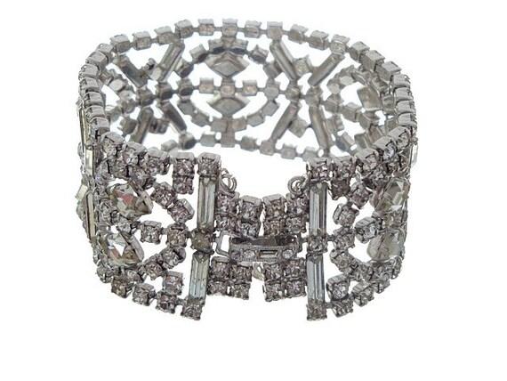Reserved Vintage Rhinestone Bracelet, Baguette Diamond Design