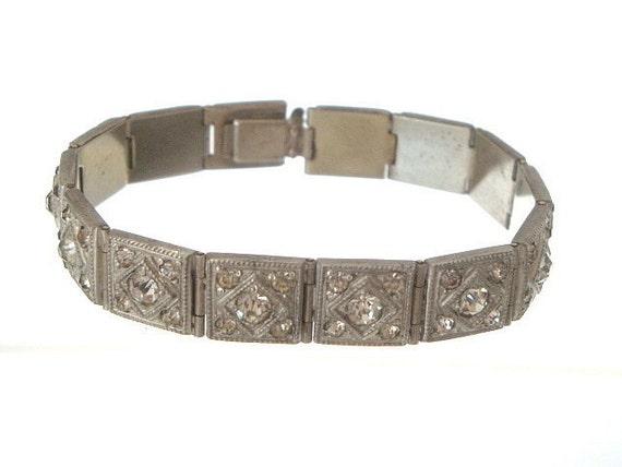 Art Deco Bracelet French Paste Vintage Link 1920s Wedding Jewelry