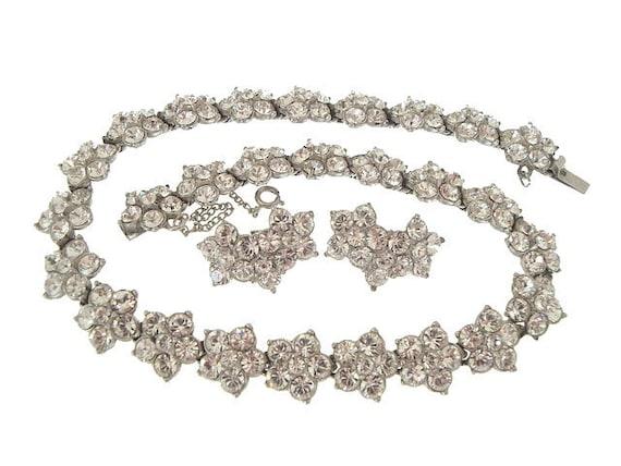 Bogoff Designer Vintage Necklace Earrings Rhinestone Wedding Jewelry 1940s
