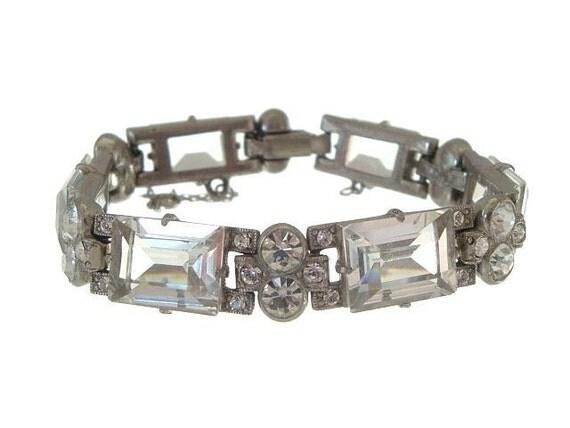 Art Deco Bracelet Wide Vintage Square Rhinestone Link 1920s Wedding Jewelry