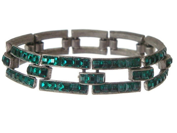 Vintage Coro Bracelet Art Deco Emerald French Cut Paste 1920s Deco Jewelry