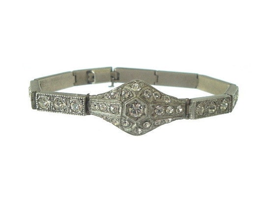 Art Deco Bracelet Vintage Faux Diamond Link 1920s Antique Wedding Jewelry