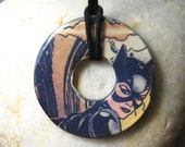 CATWOMAN Vintage Upcycled Comic Book Washer Pendant Necklace Batman DC Comics Design 2