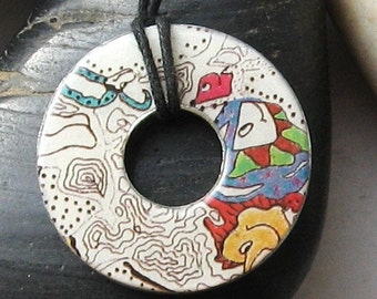 Stunning Abstract Art Enchanted Garden Upcycled origami paper  WASHER Hardware Pendant Necklace