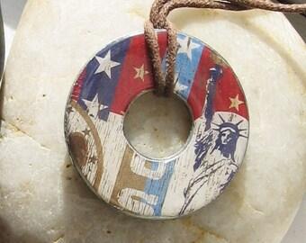 Patriotic Americana Statue of Liberty Hardware Washer Pendant Necklace
