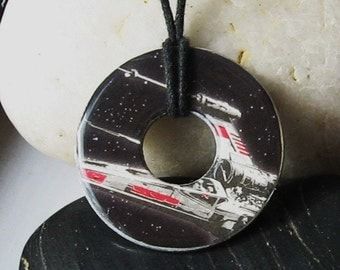 X-WING Star Wars Outer Space star ship Washer Hardware upcycled Pendant Necklace