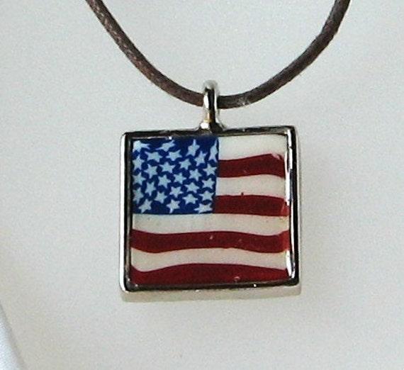 Spirited Patriotic American Flag Clay Pendant Necklace