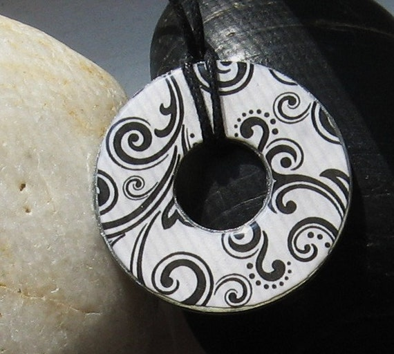 Beautiful Black Swirl and Curl Funky Washer Pendant Hardware Necklace Upcycled Papers Unique Gift