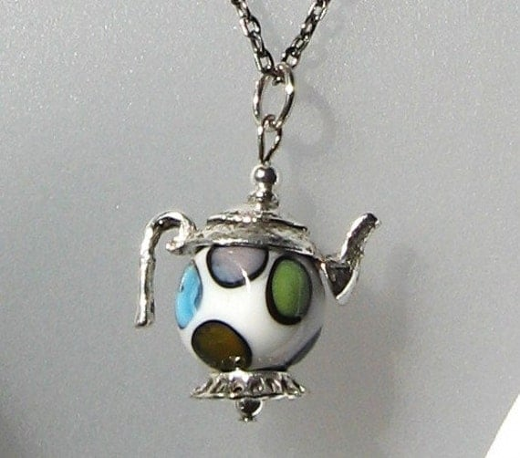 Mad Hatter Tea Party Teapot Pendant Necklace Ceramic Glass Metal