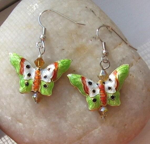 SALE Spring Garden Cloisonne Butterfly Earrings Lime Green