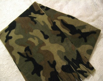 Five Buck Fleece Scarf Blow Out at SylMarCreations! * Camo  Winter Fleece Scarf  Standard Camouflage Camo Green