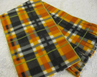 Five Buck Fleece Scarf Blow Out Special! Only at SylMarCreations!  Gorgeous Fall Plaid Neutral Halloween Plaid Winter Fleece Scarf