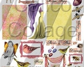 Birds and the Bees - Altered Art Collage Sheet - Digital Collage Sheet - Misc Sizes 149