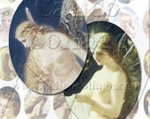 Whimsical Fairy Art  - Instant Download Digital Collage Sheet - 40x30mm Ovals 084