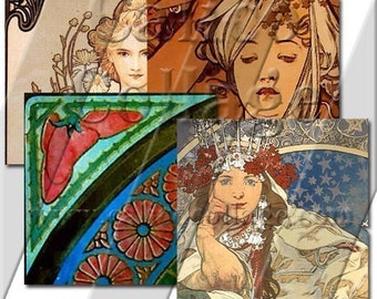 Alphonse Mucha Collage Sheet .85in Square Glass Tile Size Craft Sheet Art Deco Image Sheet 314