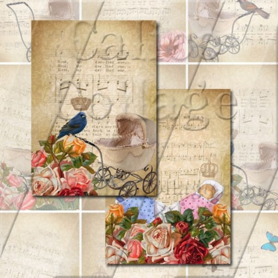 Sweet Baby - Instant Dowlond Digital Collage Sheet - 2.5x3.5 ACEO/ATC Size 488