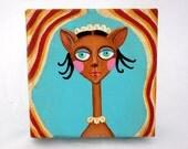 Cordelia - ON SALE - an original cat folk art painting