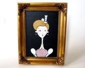 Eleanor - an original contemporary folk art painting of a Victorian lady