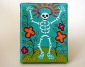 Here After - small original contemporary folk art DOTD skelly painting