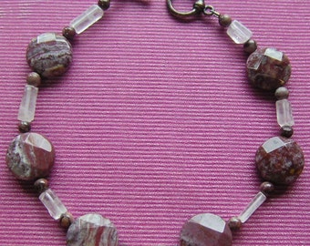 Jasper Faceted Clear Quartz Beaded Bracelet