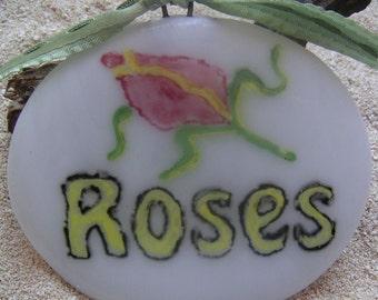 White Rose Fused Glass Garden Marker