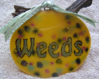 Yellow Weeds Fused Glass Garden Marker Plant stake Plant poke